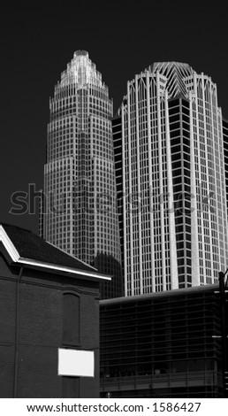 Charlotte Skyline Black and White - stock photo