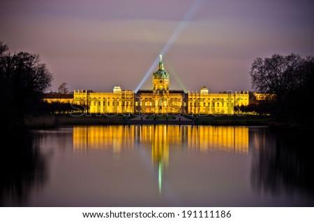 Charlottenburg palace during the night, Berlin, Germany - stock photo
