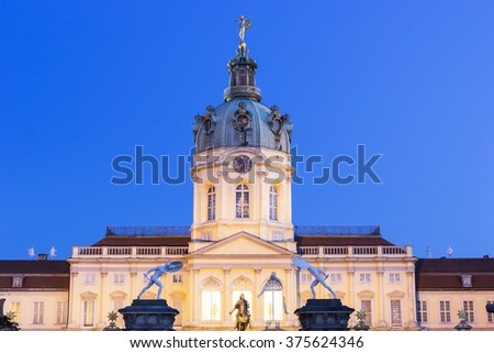 Charlottenburg Palace in Berlin in Germany on a lovely morning - stock photo