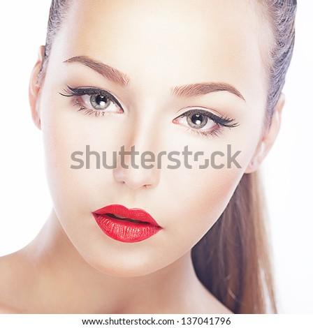 Charm. Closeup Portrait of Nifty Refined Woman. Freshness & Sensuality - stock photo