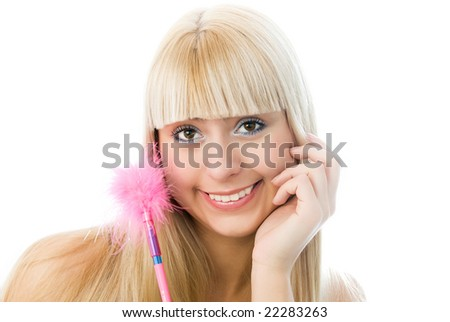 charming blond girl with a pen with pink fur isolated against white background - stock photo