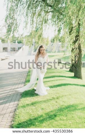 charming bride photographed near a beautiful tree - stock photo