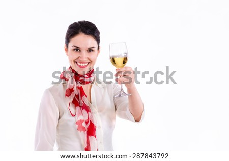 Charming Business Woman With Wine Glass Tosting - stock photo