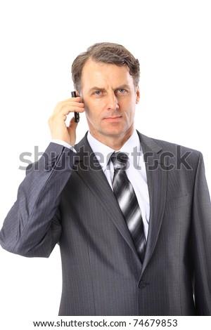 Charming businessman phoning isolated over white background - stock photo