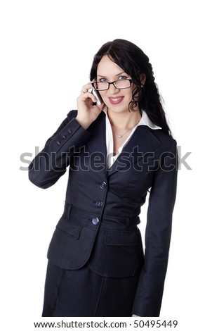 charming businesswoman wearing glasses with a mobile phone
