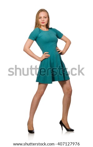 Charming caucasian woman wearing green dress isolated on white
