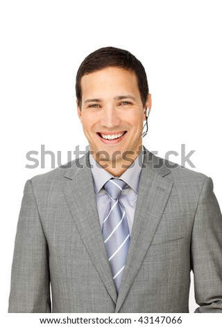 Charming customer service representative using headset isolated on a white background - stock photo