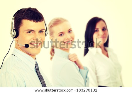 Charming customer service representative with headset - stock photo