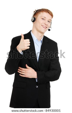 Charming customer service representative with headset on gesturing OK, isolated on white background - stock photo