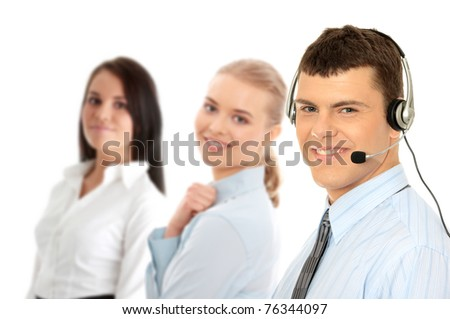 Charming customer service representative with headset on isolated on white background