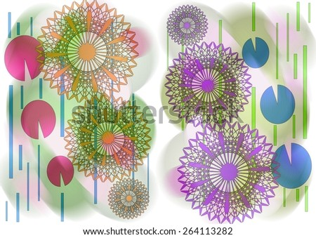 Charming distinctive    modern abstract design with floral and geometric   motifs in two picture format superimposed  on  a blurred   pattern   background ideal for classic wallpapers and backgrounds. - stock photo