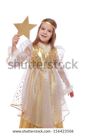 Charming fairy little angel holding a gold star on a white background