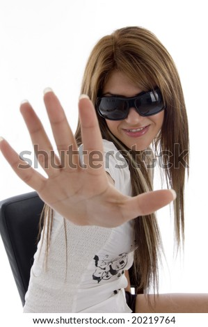 charming female showing her palm against white background - stock photo