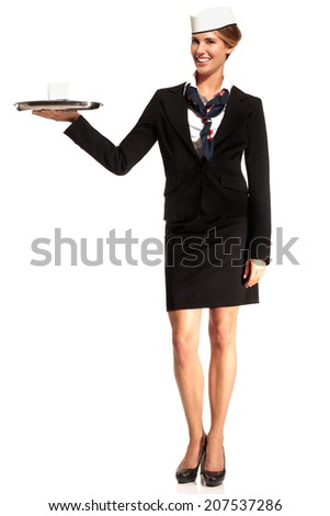 Charming flight stewardess showing various gesture  on white - stock photo