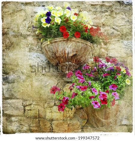 charming floral streets - artistic picture - stock photo