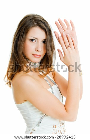 charming girl claps one's hands - stock photo