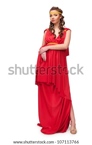 Charming girl in the dress of the Greek goddess on an isolated background - stock photo