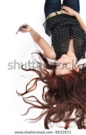 charming girl with mobile - stock photo