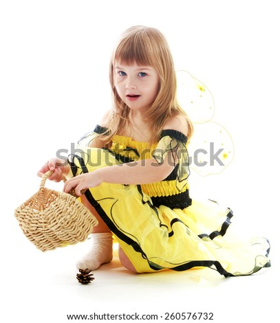 charming little girl. Happy childhood, fashion, autumnal mood concept. Isolated on white background
