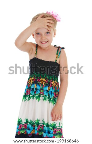 Charming little girl holding a hand across his forehead, on a white background - stock photo