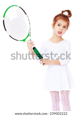 Charming little girl in a white leotard with a tennis racket.Studio photo, isolated on white background. - stock photo