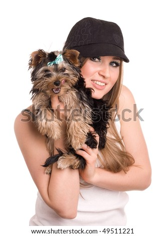 charming of the  girl with small dogl on white background - stock photo