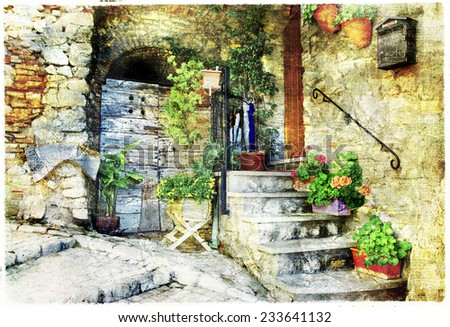 charming old streets of italian villages (Casperia), artistic picture - stock photo