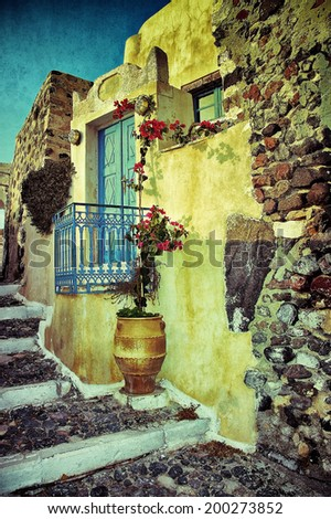Charming old streets of medieval towns of Santorini, Greece. Filtered image - stock photo