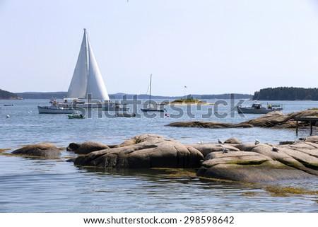 Charming sea village of Stonnington, Maine,USA - stock photo