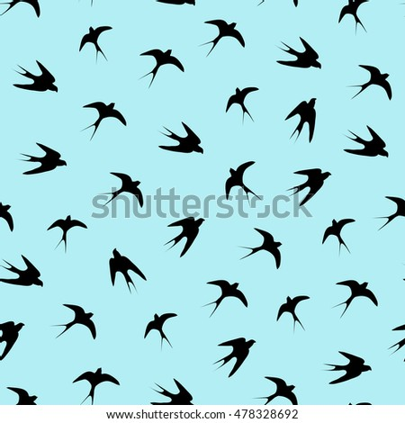 Charming seamless pattern with flying birds on the blue background. Chaotic flying. Outline style. Silhouette of the martlets.