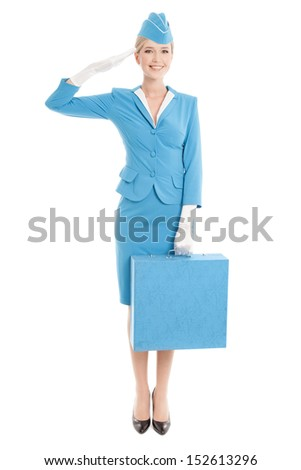 Charming Stewardess Dressed In Blue Uniform And Suitcase On White Background - stock photo