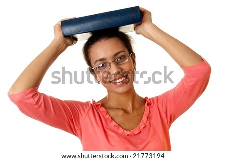 Charming student with thick book on a white background.