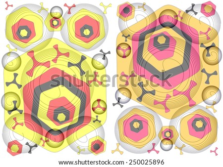 Charming unique  modern vibrant abstract design in two part format  format with floral and geometric textured  motifs  superimposed  on a  plain white background ideal for classic wallpapers - stock photo