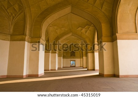 Charming view of Itimad-Ud-Daulah mausoleum in Agra, India - stock photo