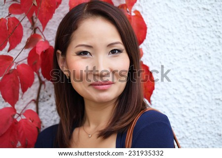 Charming woman face close up. Model is a asian girl - stock photo