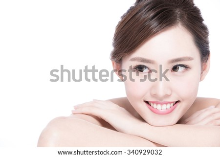 Charming woman face Smile to you close up while lying isolated on white background, asian girl