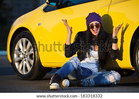 charming woman in the car