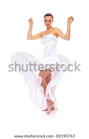 charming woman in white gown on white background