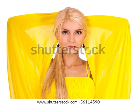 Charming woman in yellow dress, it is isolated on white background. - stock photo