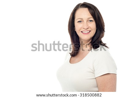 Charming woman isolated on white - stock photo