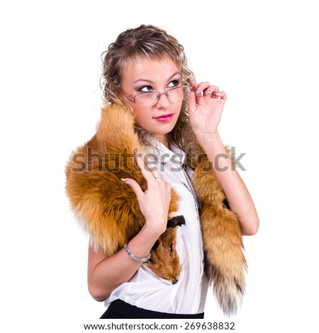 charming woman wearing winter fur scarf over white background isolated - stock photo