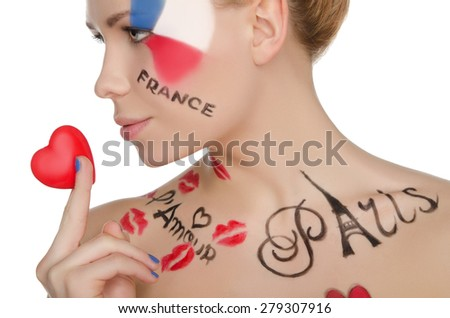 charming woman with make-up on topic of France isolated on white - stock photo
