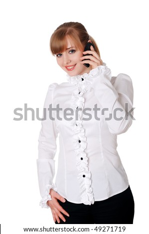 charming young businesswoman in a white suit isolated on white background