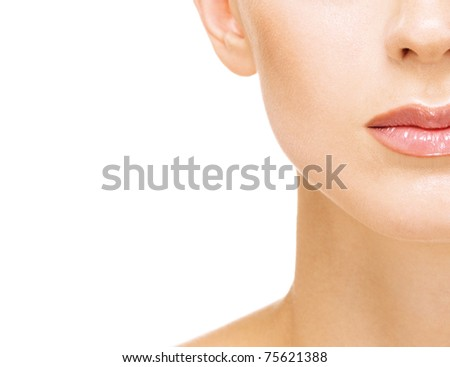 Charming young woman half face close up , on red background. - stock photo