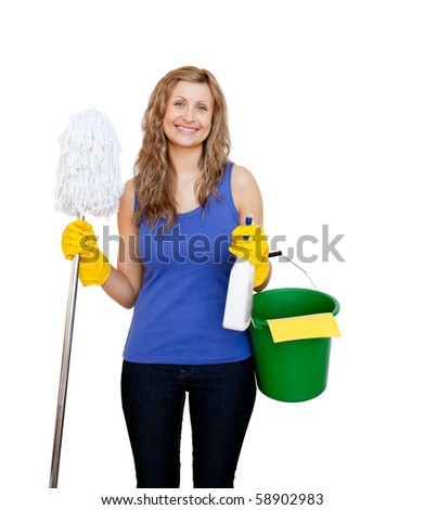 Charming young woman holding a mop against white background - stock photo