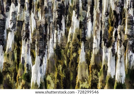Charred old wharf pilings, with nails, at low tide, with digital painting effect, for backgrounds with coastal or environmental motifs