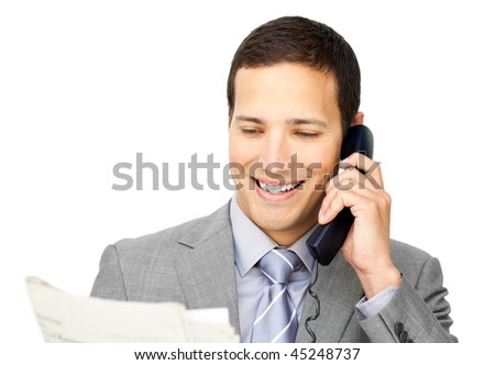 Charsmatic businessman on phone holding a newspaper against a white background