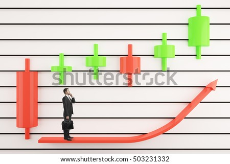 Chart arrow with thoughtful businessman and other items on light background. Japanese candlestick charting analysis concept