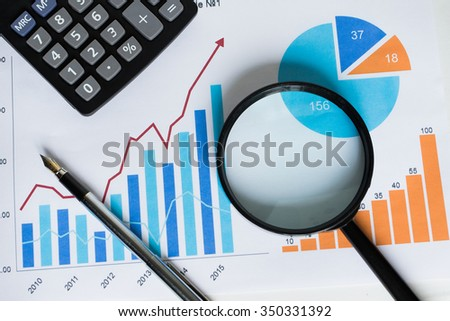Chart business chart diagram statistic loupe