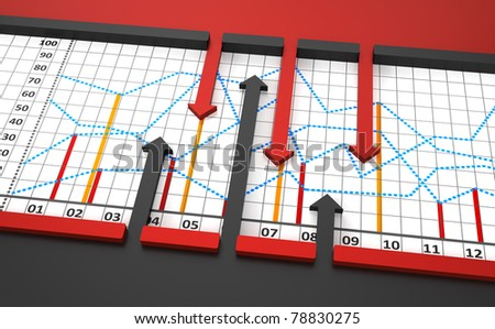 Chart, diagram with arrows - stock photo